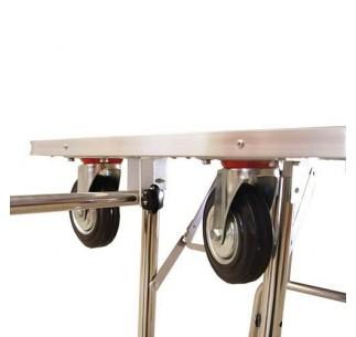 Mesa Exposición con ruedas y horca